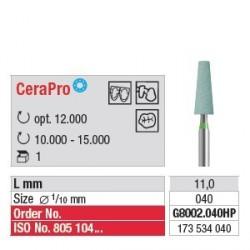 Polissoir CeraPro Cône 4.0 mm Bague verte Gros grain